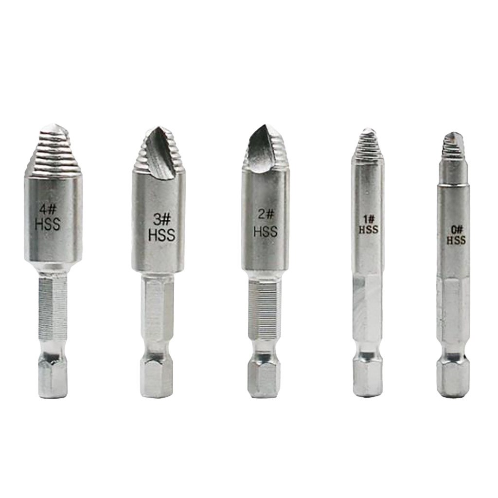 5pcs Set Damaged Screw Extractor Speed Out Drill Bits Tool Broken Bolt Remover
