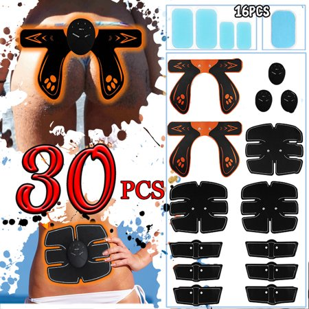 30Pcs/Set EMS Muscle Training Gear, ABS Stimulator Back/Arm/Leg Abdominal Muscle Trainer, Hip Butt Lifter Buttocks Lift Up and Replacement Gel Kit Home Fitness