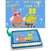 """Spongebob Whats funnier than 24 Edible Cake Image Topper Personalized Picture 1/4 Sheet (8""""x10.5"""")"""