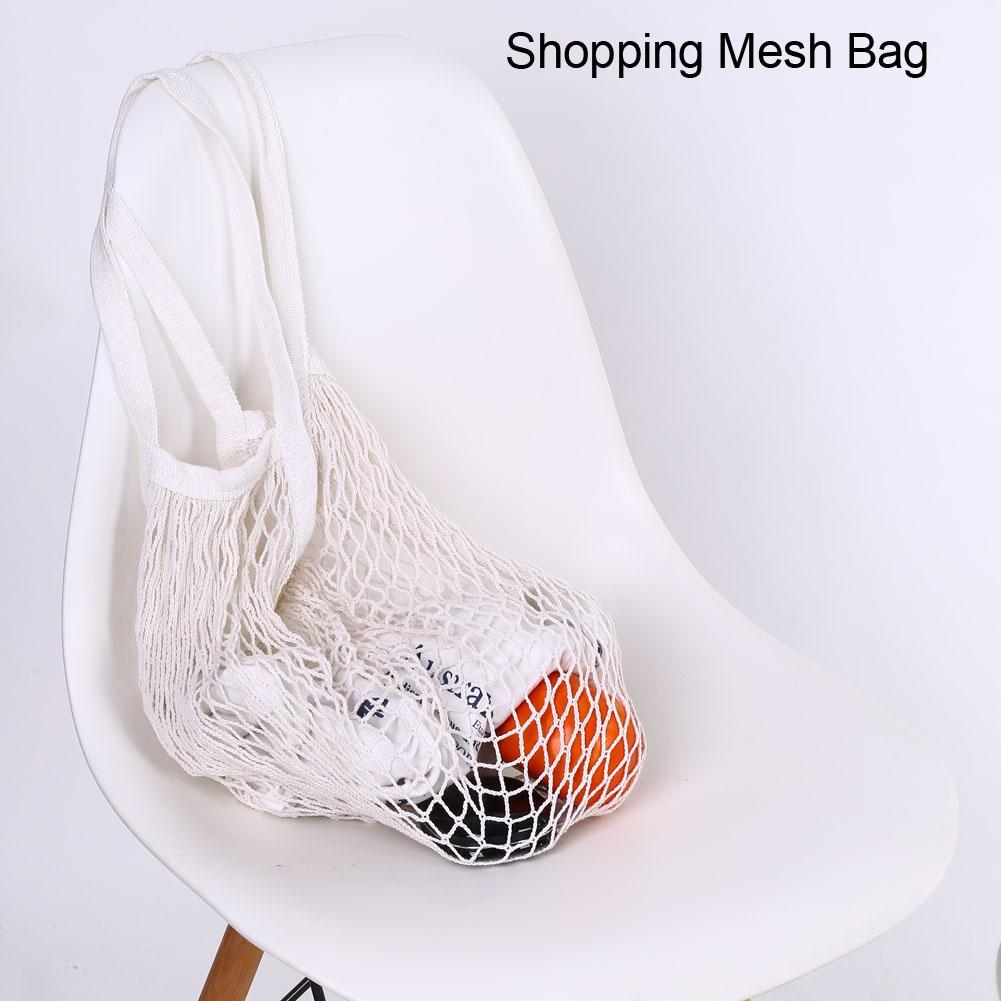 Kids Thick Tote String Woven Beach Reusable Net Bag Cotton Mesh Shopping Bag