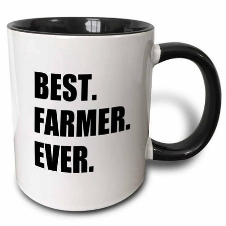 3dRose Best Farmer Ever - fun gift for farming job - farm - black text - Two Tone Black Mug, (Best Gifts For Farmers)