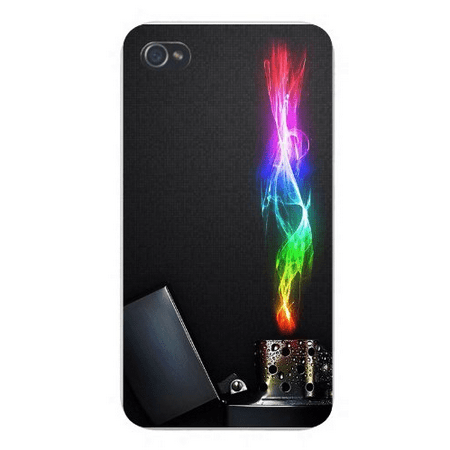 Apple Iphone Custom Case 4 4s Snap on - Lighter Closeup w/ Colorful Flame on Black