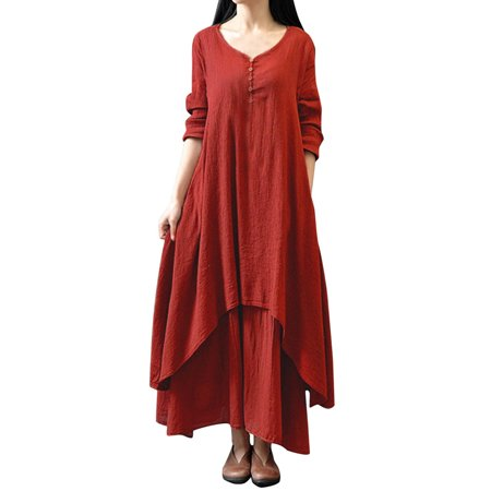 Women Dresses Clearance Double Layers Long Spring Fall Maxi Tunic