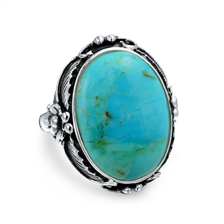 - 925 Sterling Silver Oval Flower Natural Enhanced Turquoise or Natural Moonstone Southwestern Leaf Floral Statement Ring