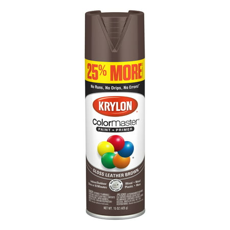 Krylon® ColorMaster Paint + Primer Gloss Leather Brown, - Dark Brown Leather Finish