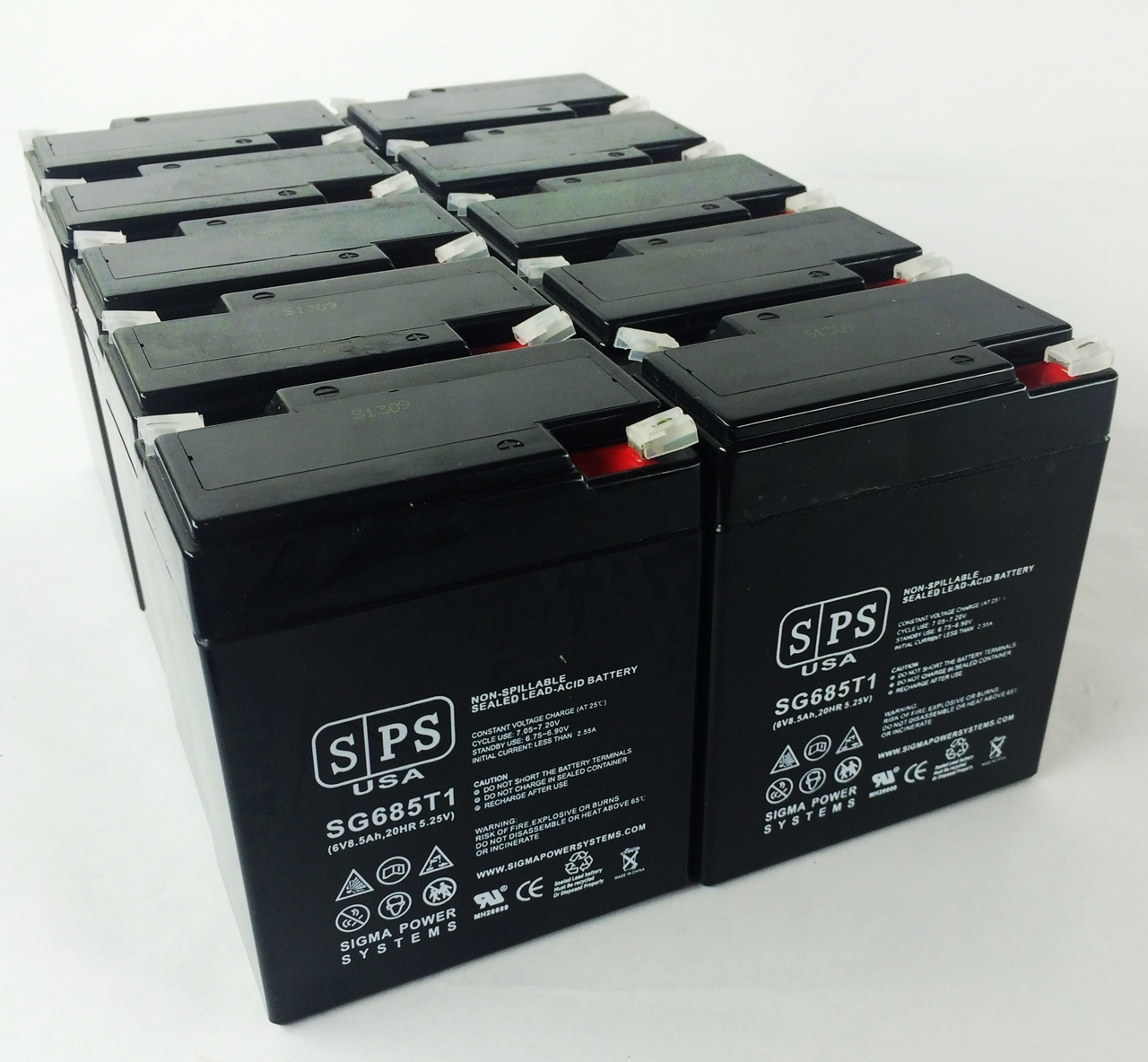 SPS Brand 6V 8.5 Ah Replacement Battery  for SureLites 15001 (10 pack)