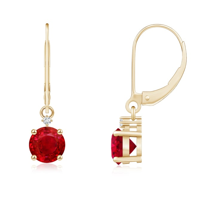 Angara Round Ruby and Diamond Leverback Dangling Earrings in 14k Yellow Gold klmEZZp7Z