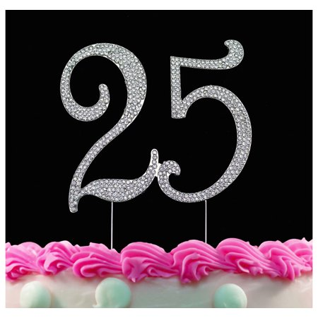25th Birthday Cake Topper With Sparkling Crystals Bling
