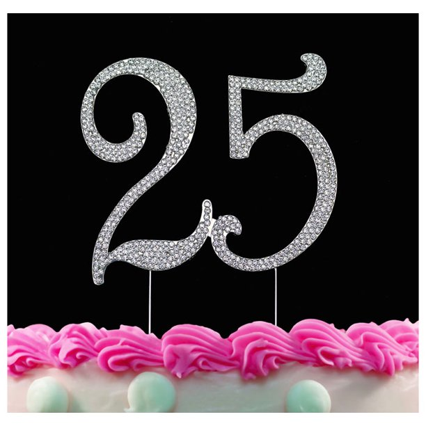 Terrific 25Th Birthday Cake Topper With Sparkling Crystals Bling Birthday Funny Birthday Cards Online Alyptdamsfinfo