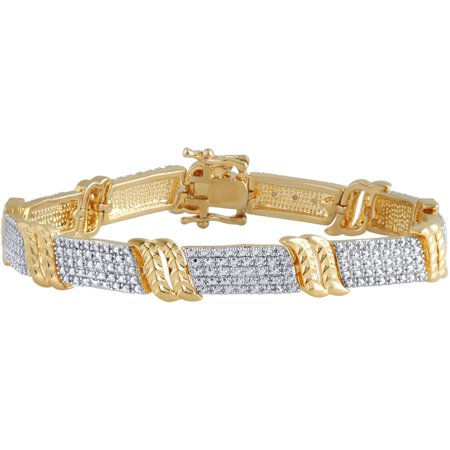 Diamond Accent 14kt Yellow Gold Over Brass Fashion Bracelet - Gold Diamond Fashion Bracelet