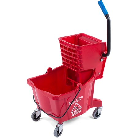 Wringer System - Carlisle 3690805 Commercial Mop Bucket With Side Press Wringer, 26 Quart Capacity