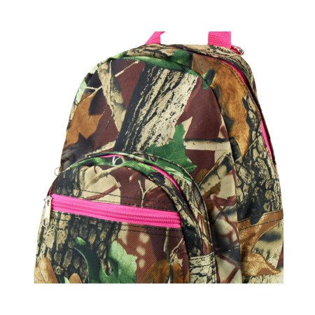 Zodaca Stylish Kids Small Travel Backpack Girls Boys Bookbag Shoulder Children's School Bag for Outside Activity - Natural Camoflague with Pink Trim - image 3 of 4