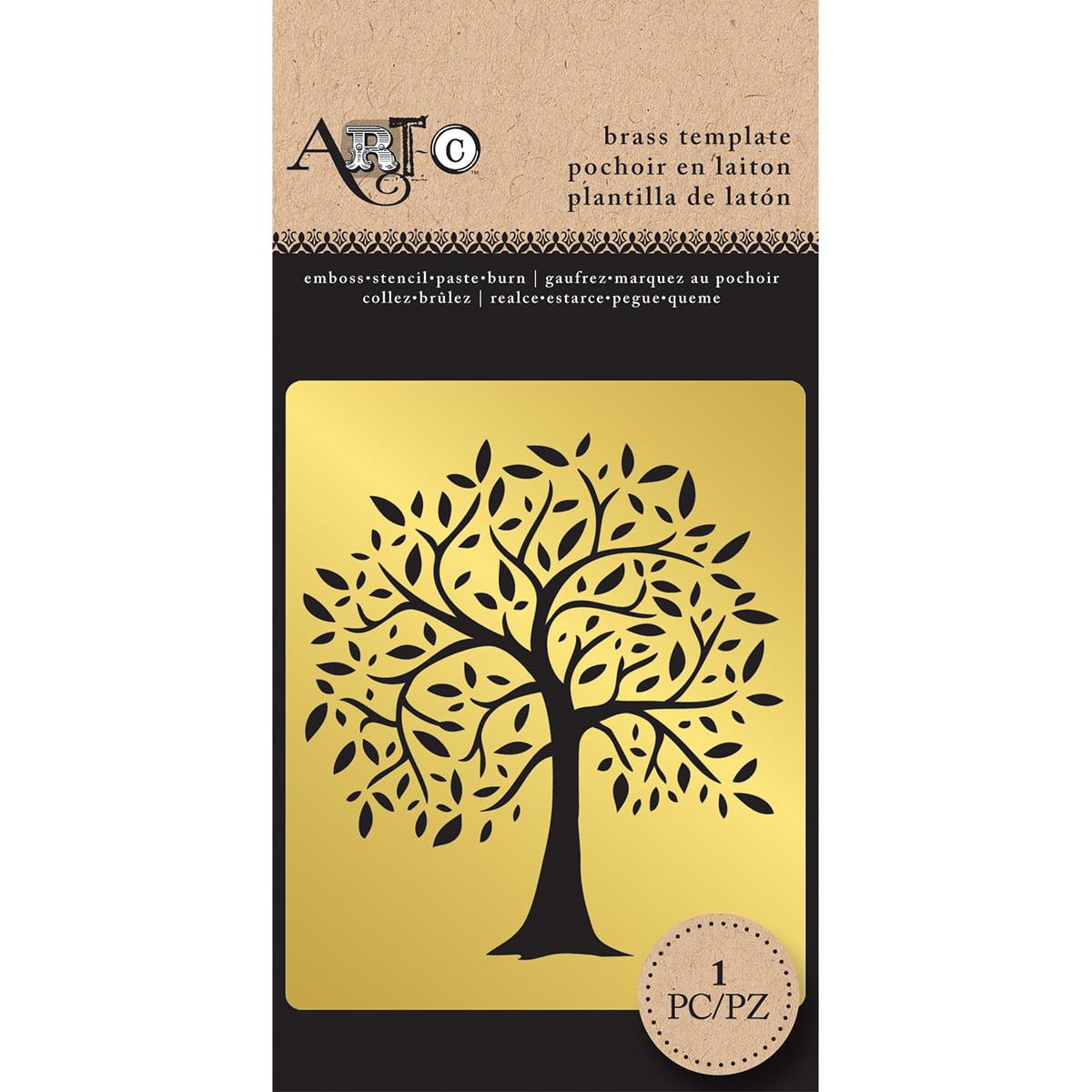 """Art-C Brass Stencil 2.75""""X5.5""""-Tree"""