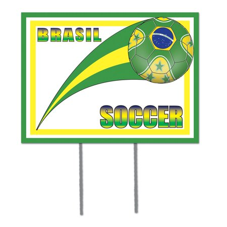 Beistle 54477-BRA Plastic Yard Sign - Brasil - Pack of 6