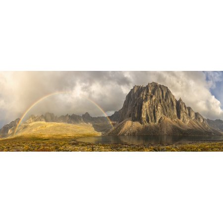 Rainbow Over Unnamed Mountain By Talus Lake In Tombstone Territorial Park Yukon Canada Posterprint