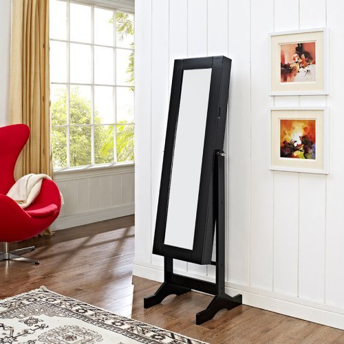 Modern Jewelry Armoire Cheval Mirror - High Gloss Black