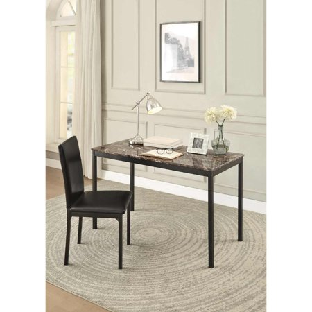 Maple Office Desks (Faux Marble Writing Desk With Leatherette Upholstered Metal Chair, Black)