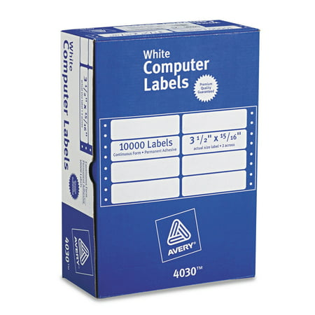 Avery Continuous Form Computer Labels for Pin-Fed Printers 3-1/2 x 15/16, Box of 10,000 (4030)