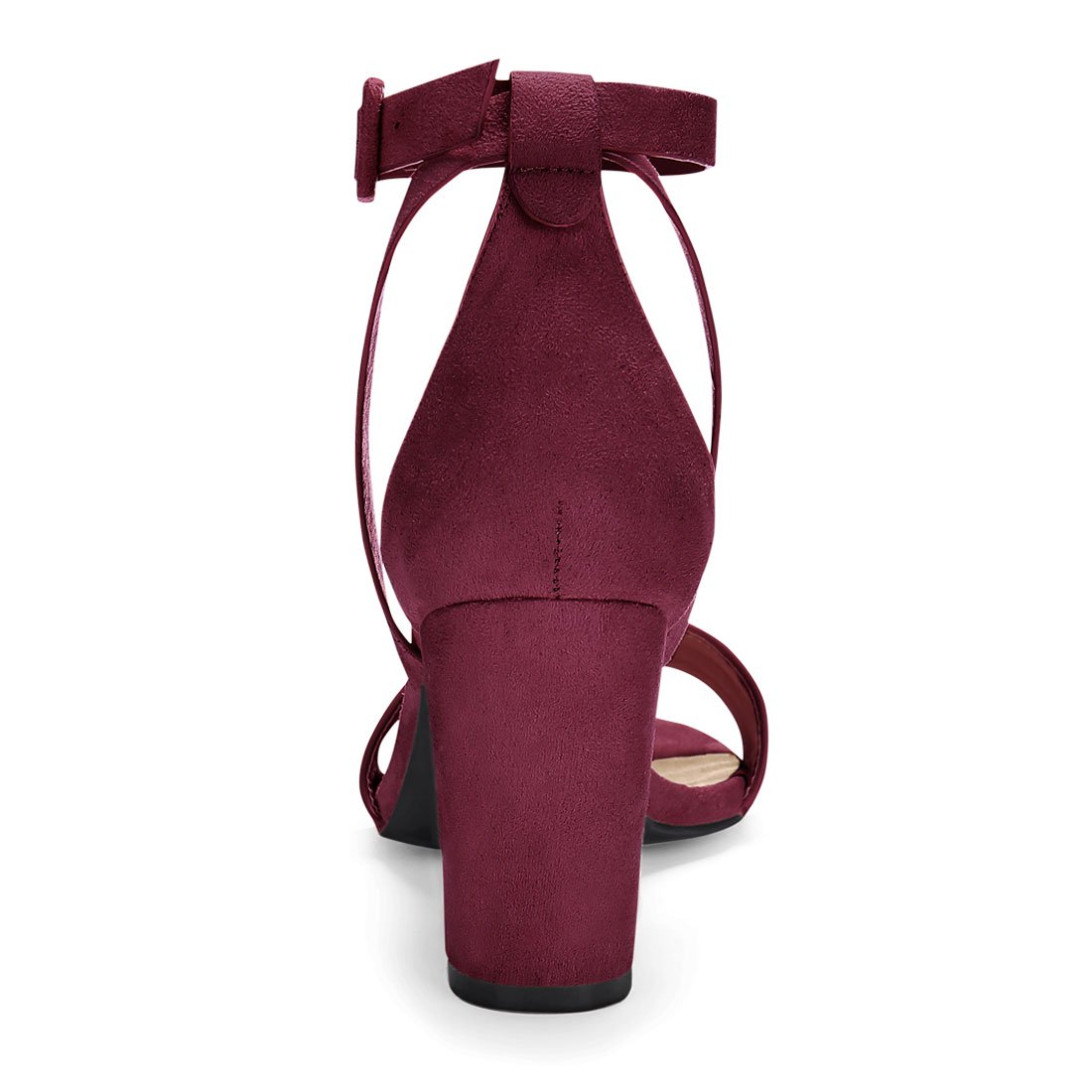 2fc00ad199a HJ284-5 Women PU Panel Piped Chunky Heel Ankle Strap Sandals Burgundy US  5.5