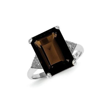 925 Sterling Silver Smoky Quartz Diamond Band Ring Size 8.00 Stone Gemstone For Women