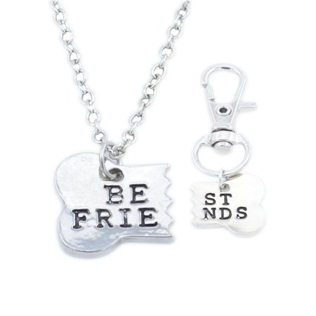 2 pcs Best Friends Matching Necklace & Dog Tag Clip Bone Key Chain