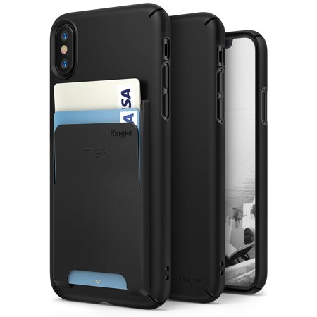 Apple iPhone X Phone Case, iPhone 10 Case [Value Accessory Kit] Ringke SLIM Superior Slender [FREE Wallet Slot Attachment] Precise Contour Lightweight Cover Set - Black