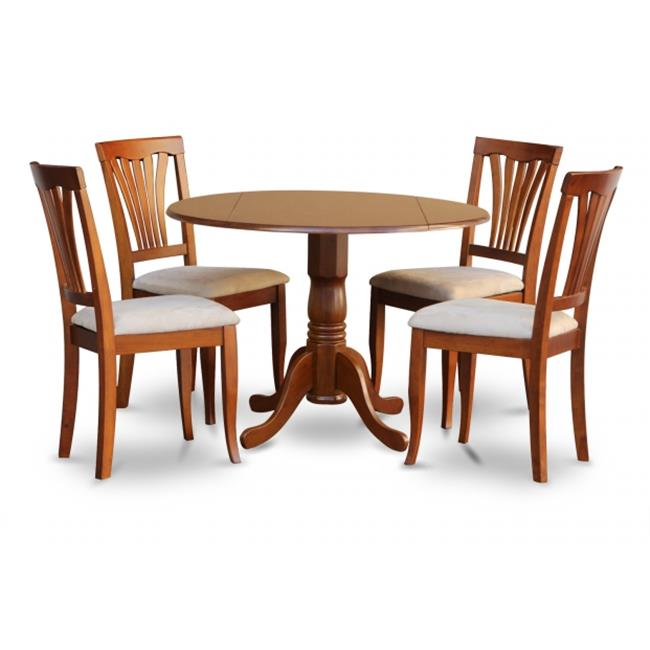 East West Furniture DLAV5-SBR-C 5PC Kitchen Round Table with 2-Drop Leaves and 4 Avon chairs with cushion Seat