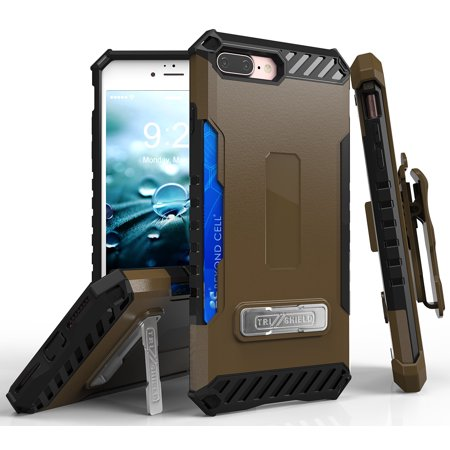 iPhone 7/8 Plus case, TRI-SHIELD RUGGED CASE with MAGNETIC KICKSTAND and CREDIT CARD WALLET SLOT + BELT CLIP HOLSTER + LANYARD STRAP FOR APPLE iPHONE 7/8 PLUS (Best Strap For Apple Ipads)