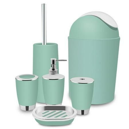 6 Piece Plastic Bathroom Accessory Set ()
