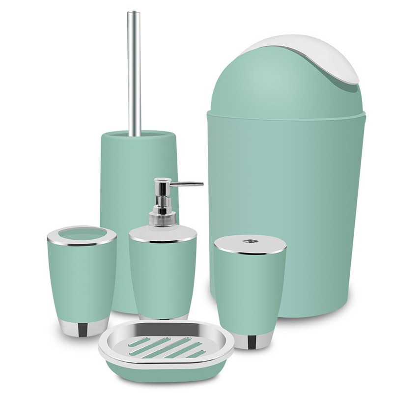 6 Piece Bathroom Accessory Set,Home Decoration, Lotion Dispenser, Toothbrush Holder, Bathroom Tumblers, Soap Dish, Trash Can, Toilet Brush,Mint