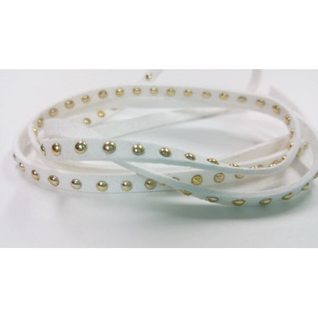 1 YARD -4.5mm Gold Round Studded Rivets White Faux Suede Cord Leather Lace Ribbon Soft