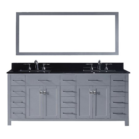 Virtu Md 2178 Bgsq Gr 002 Caroline Parkway 78 Inch Double Bathroom Vanity Set In Grey