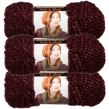 Lion Brand (3 Pack) Homespun Thick & Quick Acrylic & Polyester Soft Yarn for Knitting Crocheting Super Bulky - Super Buddy