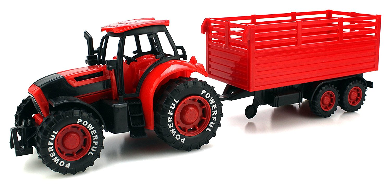 Power Farm Tractor Trailer Children's Kid's Friction Powered Toy Truck Playset (Red) by Velocity Toys