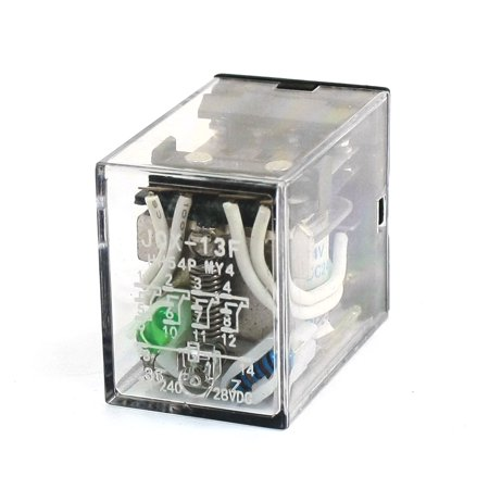 (Unique Bargains Green  Light DC 24V Coil 4PDT 4NO 4NC Electromagnetic Relay)