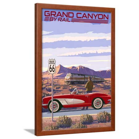 Grand Canyon Railway, Arizona - Route 66 - Corvette with Red Rocks Framed Print Wall Art By Lantern Press