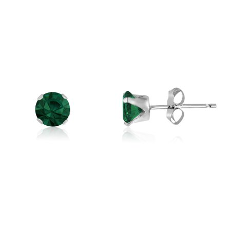Round 2mm Sterling Silver Simulated Emerald Stud Earrings, Free Gift Box included