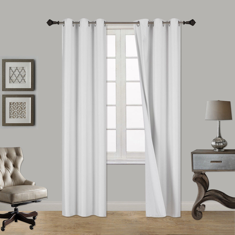 """(SSS) 2-PC White Solid Blackout Room Darkening Panel Curtain Set, Two (2) Window Treatments of 37"""" Wide x 108""""... by"""
