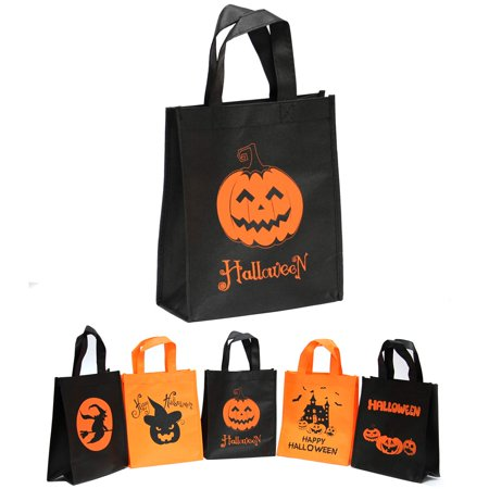 Graveyard Girl Halloween Treat Bags (5 PACK Halloween Trick or Treat Candy Bag Reusable Grocery Candy Goodie Totes Baggies Party Favor Bags)