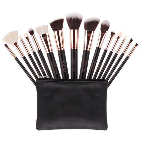 Makeup Brushes Kit Set, Docolor 15 Pcs Goat Hair Professional Foundation Blending Blush Face Powder Makeup Brush with Cosmetic Case ()