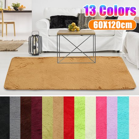Fluffy Rectangle Floor Rug Anti Skid Gy Plush Area Dining Room Carpet Yoga Bedroom