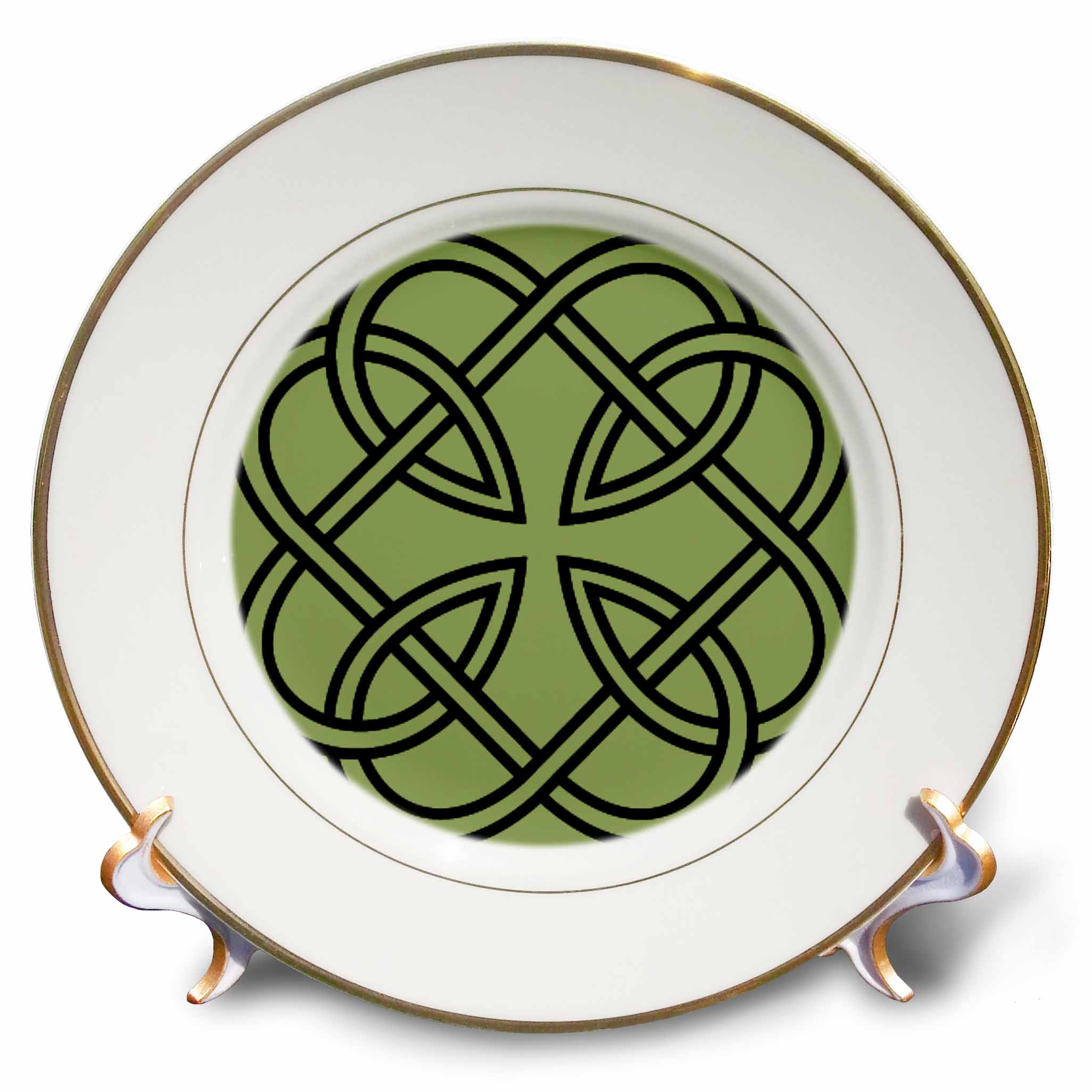 3dRose Black Celtic Design on A Moss Green Background, Porcelain Plate, 8-inch