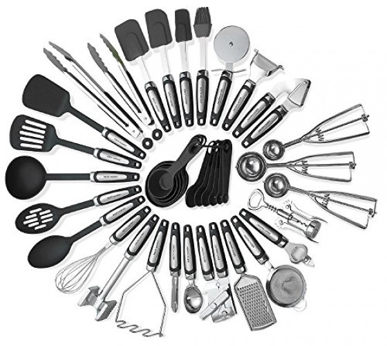 Kitchen Utensils Sets 39 Pieces- Stainless Steel And Nylon Gadgets- Turners, Spoon, Ladle, Tongs, Spatulas, Cutter, Potato Press, Brush,... by Kayco USA