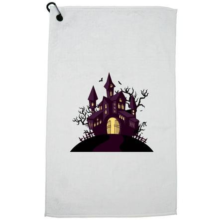 Hollywood Sports Halloween (Haunted Halloween House Golf Towel with Carabiner)
