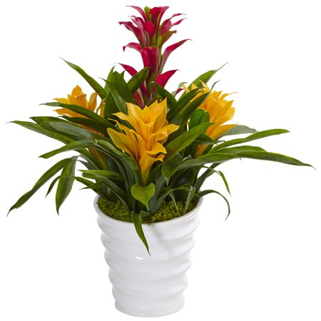 Nearly Natural Tropical Bromeliad Artificial Plant in White Swirl Vase