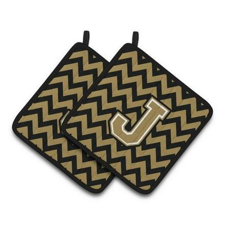 Carolines Treasures CJ1050-JPTHD Letter J Chevron Black & Gold Pair of Pot Holders, 7.5 x 3 x 7.5 in. - image 1 de 1