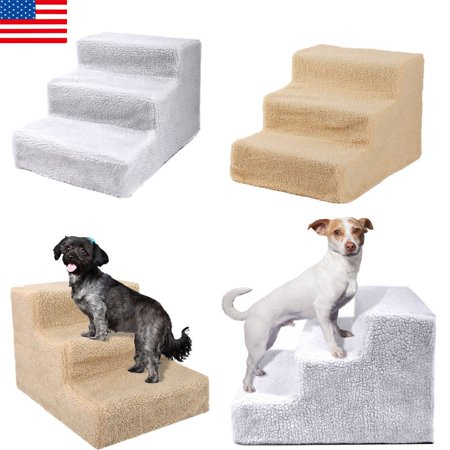 Pet 3-Steps Stairs Soft Portable Cat Dog Ramp Ladder Small Climb With Fleece Cover For Puppy Kitten Up to 70 lbs White