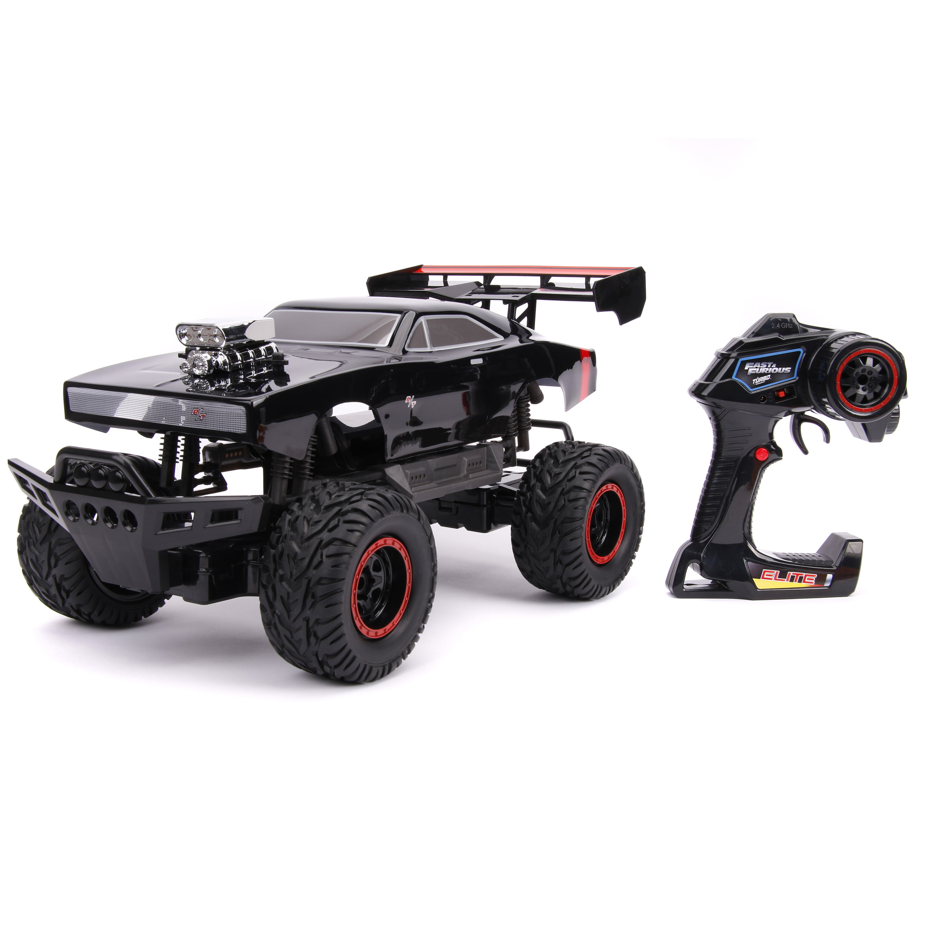 Jada Toys Fast & Furious Elite 4x4 RC 1970 Dodge Charger R/T Remote Control Vehicle 1:12 Scale Glossy Black