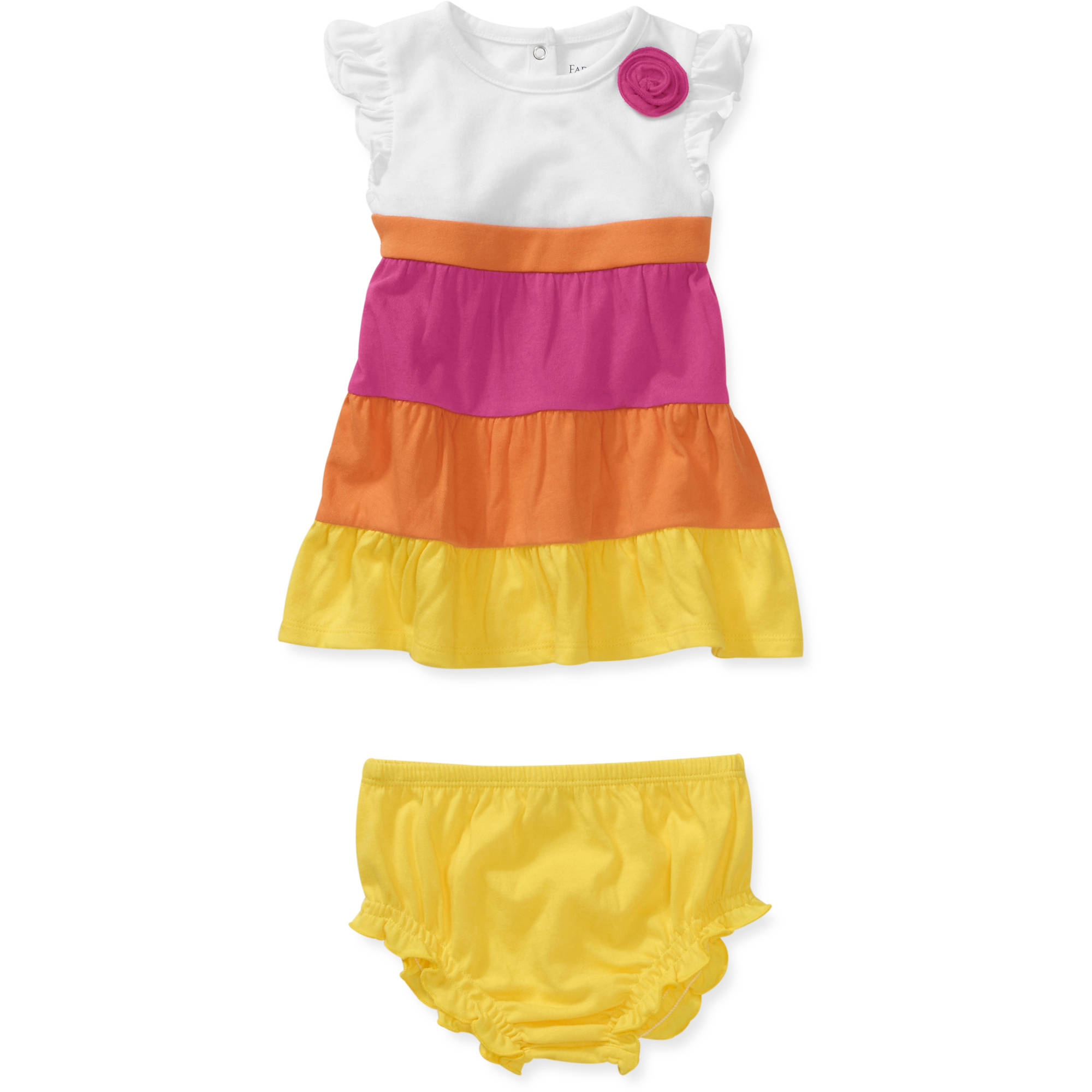 Faded Glory Newborn Girls' 2-Piece Knit Rainbow Tiered Dress and Bloomer Set
