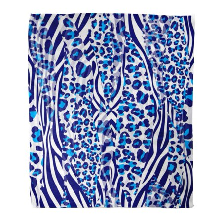 KDAGR Throw Blanket Warm Cozy Print Flannel Blue Pattern Zebra Color Skin Leopard Comfortable Soft for Bed Sofa and Couch 58x80 Inches (Zebra Print Cozy Cover)